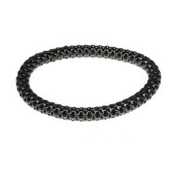 Sterling Silver & Black Rhodium Elasticated Mesh Bracelet