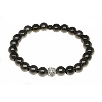Sterling Silver and Black Rhodium Elasticated Bead Bracelet