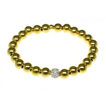 Sterling Silver and Yellow Gold Elasticated Bead Bracelet