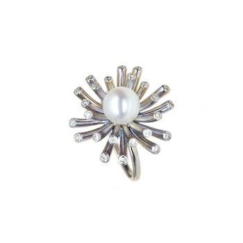 WHITE PEARL AND DIAMOND RADIANCE RING