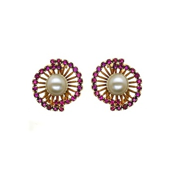 Ruby and Pearl Lily Earrings