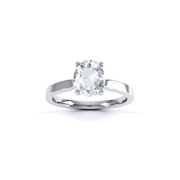 Classic Ascher Cut Diamond Ring In Platinum