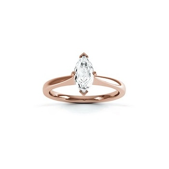 Classic Marquise Cut Diamond Ring In 18 Carat Red Gold