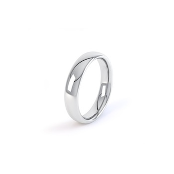 18ct White Gold 4mm Court Shape Wedding Ring