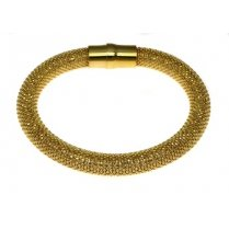 Sterling Silver and Yellow Gold Heavyweight Diamond Cut Magnetic Bracelet