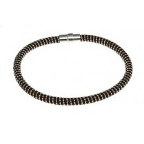 Sterling Silver & Brown Silk Twist Magnetic Bracelet