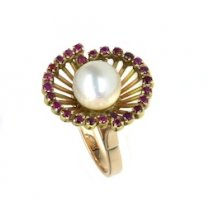 RUBY AND PEARL LILY RING