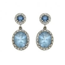 Aquamarine and Diamond Cocktail Earrings