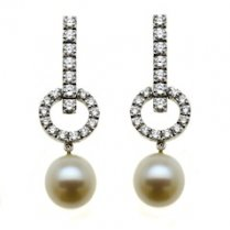 18 Carat White Gold Diamond and Pearl Halo Earrings