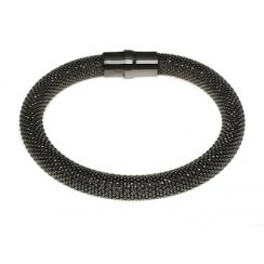 Sterling Silver and Black Rhodium Heavyweight Diamond Cut Magnetic Bracelet