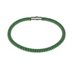 Sterling Silver & Green Silk Twist Magnetic Bracelet