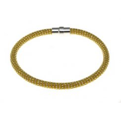 Sterling Silver and Yellow Gold Diamond Cut Magnetic Bracelet