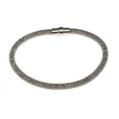Sterling Silver and Black Rhodium Diamond Cut Magnetic Bracelet
