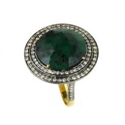 EMERALD AND DIAMOND ORBIT RING