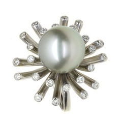 BLACK TAHITIAN PEARL AND DIAMOND RADIANCE RING