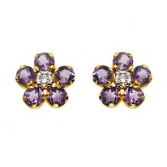 Amythyst and Diamond Flower Earrings