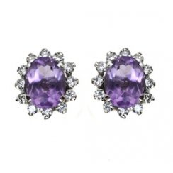 Amythyst and Diamond Cluster Earrings