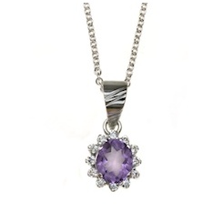 18 Carat White Gold Amythyst and Diamond Cluster Pendant