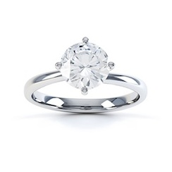 Classic Round Briliant Cut Diamond Ring In Platinum