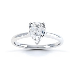Classic Pear Shaped Diamond Ring In 18 Carat White Gold