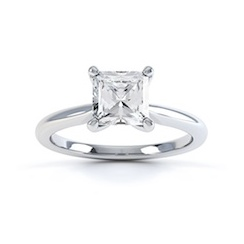 Classic Princess Cut Diamond Ring In 18 Carat White Gold