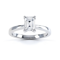 Classic Emerald Cut Diamond Ring In 18 Carat White Gold