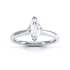 Classic Marquise Cut Diamond Ring In 18 Carat White Gold