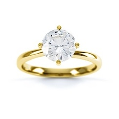 Classic Round Briliant Cut Diamond Ring In 18 Carat Yellow Gold