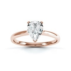 Classic Pear Shaped Diamond Ring In 18 Carat Red Gold