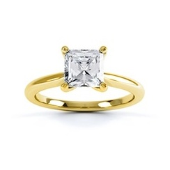 Classic Princess Cut Diamond Ring In 18 Carat Yellow Gold