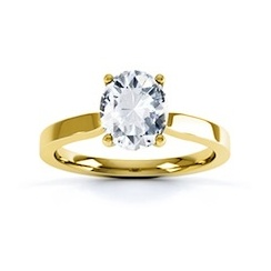 Classic Ascher Cut Diamond Ring In 18 Carat Yellow Gold