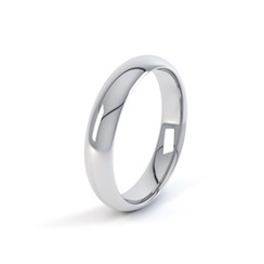 Platinum 4mm D Shape Wedding Ring
